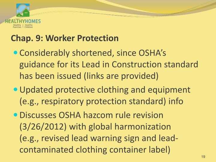 Chap. 9: Worker Protection