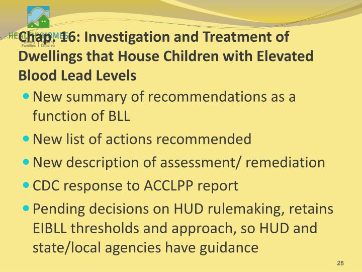 Chap. 16: Investigation and Treatment of Dwellings that House Children with Elevated Blood Lead Levels