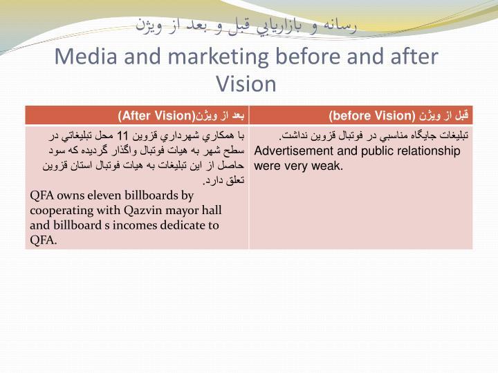 رسانه و بازاريابي قبل و بعد از ويژن