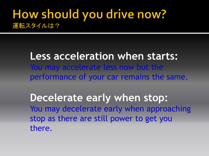 How should you drive now?