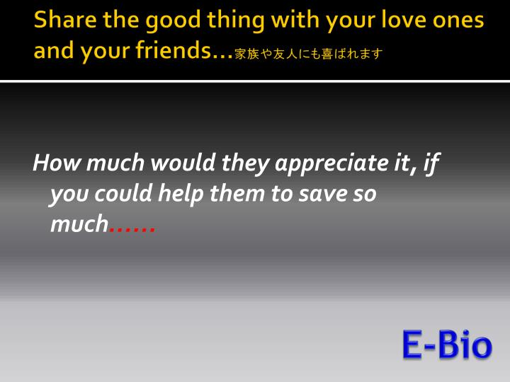 Share the good thing with your love ones and your friends…