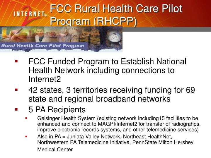 FCC Rural Health Care Pilot Program (RHCPP)