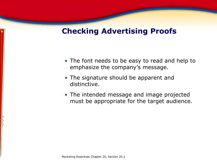 Checking Advertising Proofs