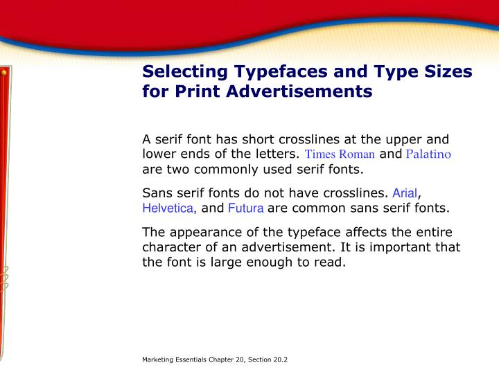 Selecting Typefaces and Type Sizes for Print