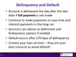 delinquency and default