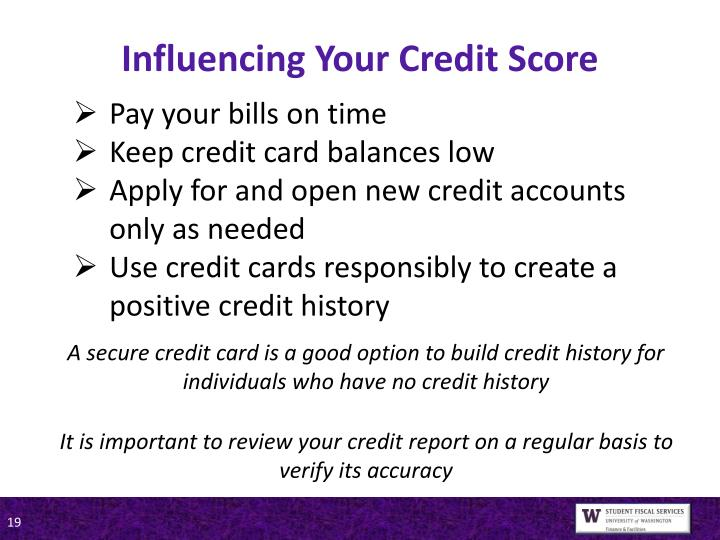 Influencing Your Credit Score