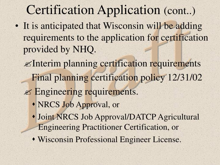 Certification Application