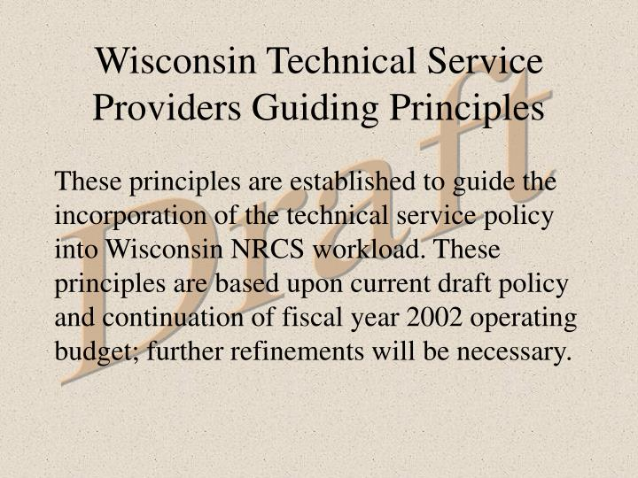 Wisconsin technical service providers guiding principles