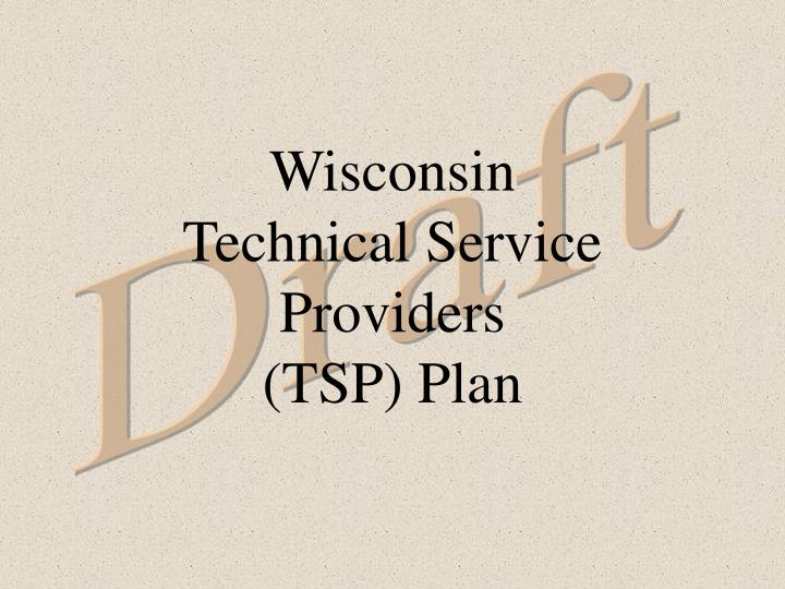 Wisconsin technical service providers tsp plan