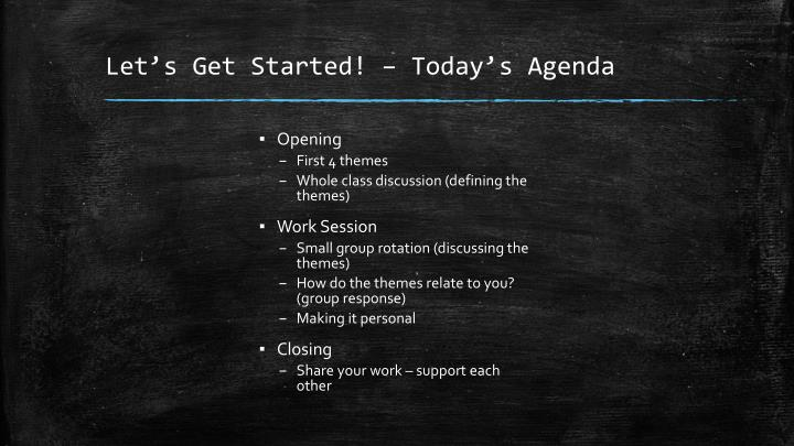 Let's Get Started! – Today's Agenda