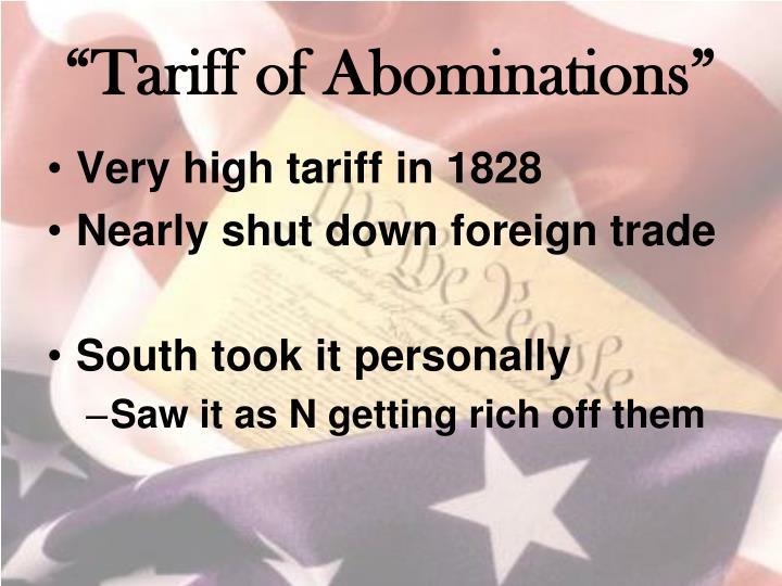 """Tariff of Abominations"""