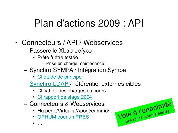 Plan d'actions 2009 : API