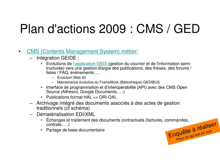 Plan d'actions 2009 : CMS / GED
