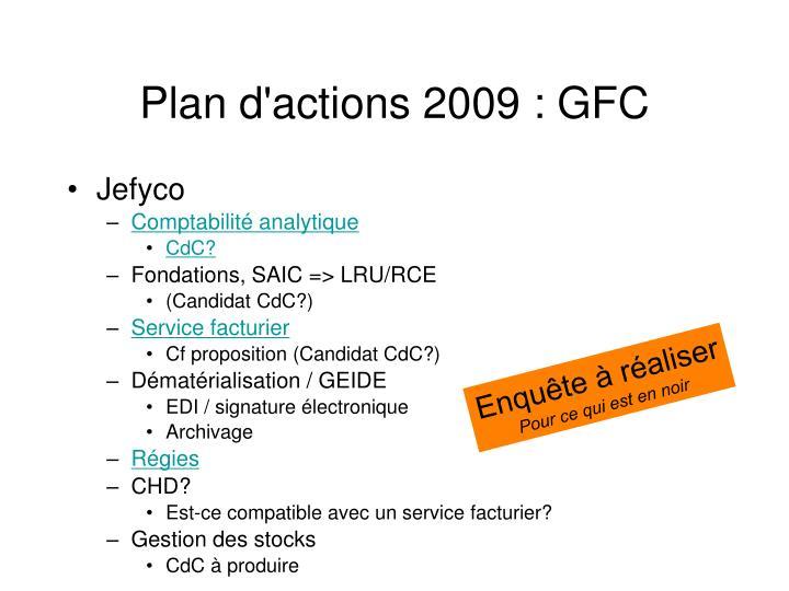 Plan d'actions 2009 : GFC