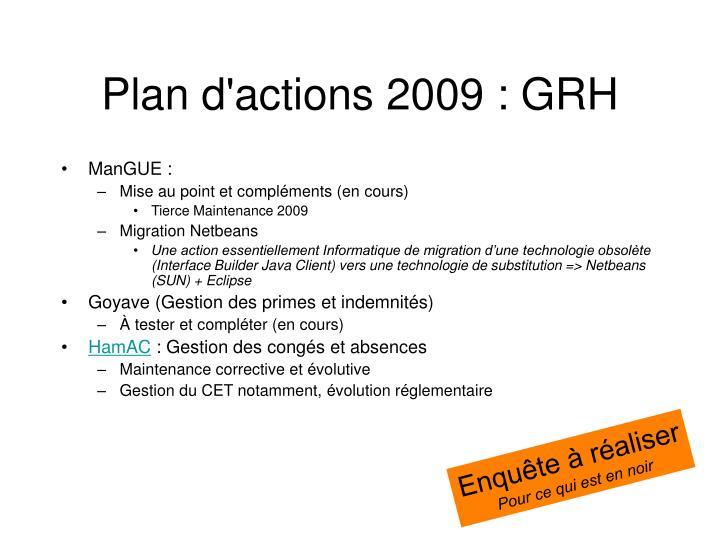 Plan d'actions 2009 : GRH