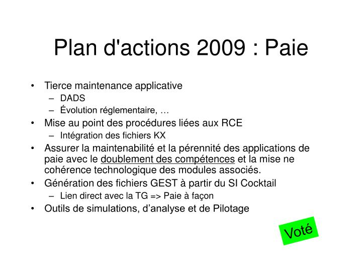 Plan d'actions 2009 : Paie