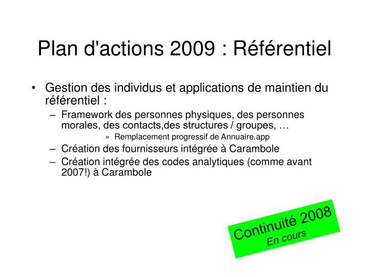 Plan d'actions 2009 : Référentiel