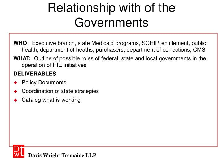 Relationship with of the Governments