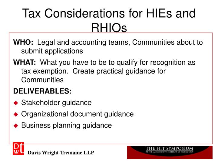 Tax Considerations for HIEs and RHIOs