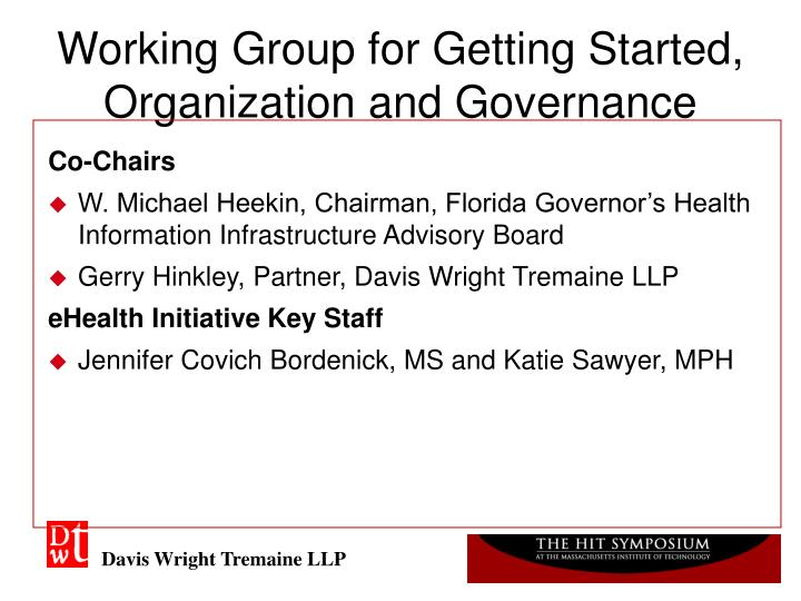 Working group for getting started organization and governance