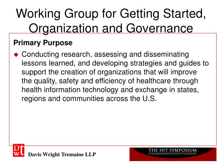 Working group for getting started organization and governance1