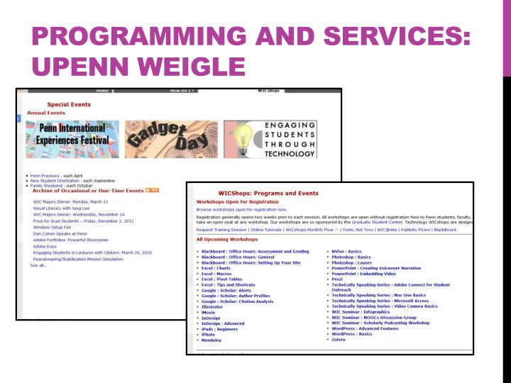 Programming and services: UPENN