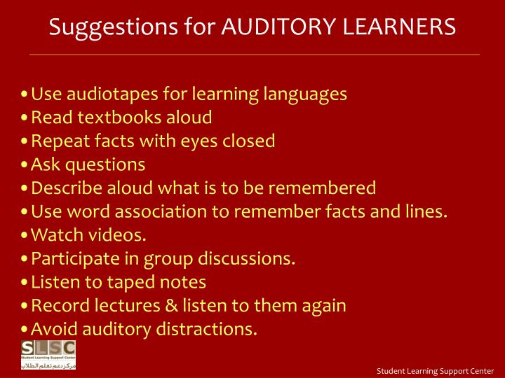 Suggestions for AUDITORY LEARNERS