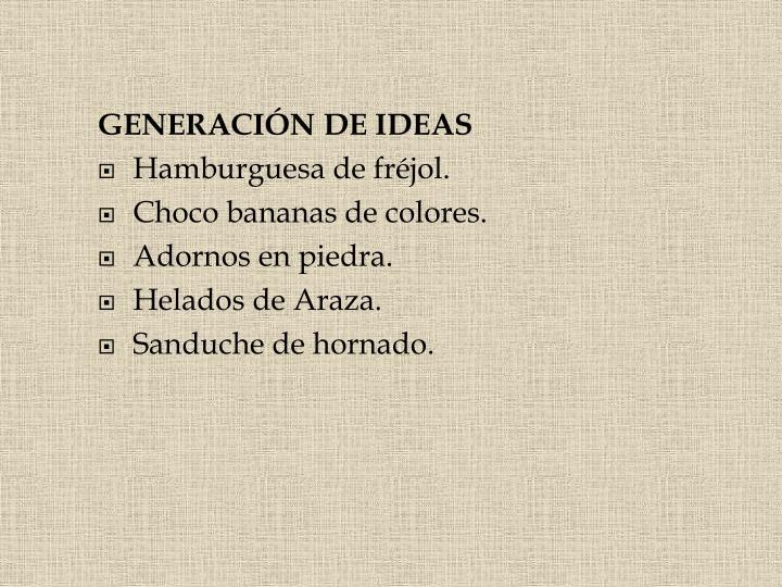 GENERACIÓN DE IDEAS