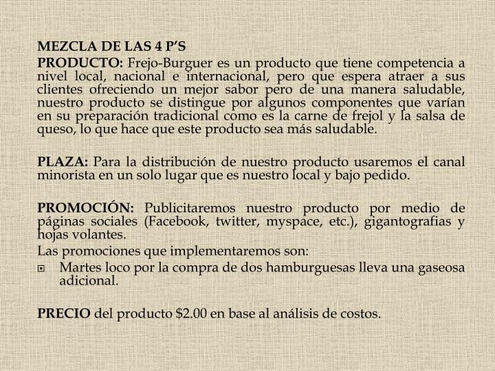MEZCLA DE LAS 4 P'S