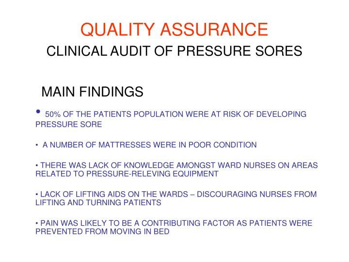 CLINICAL AUDIT OF PRESSURE SORES