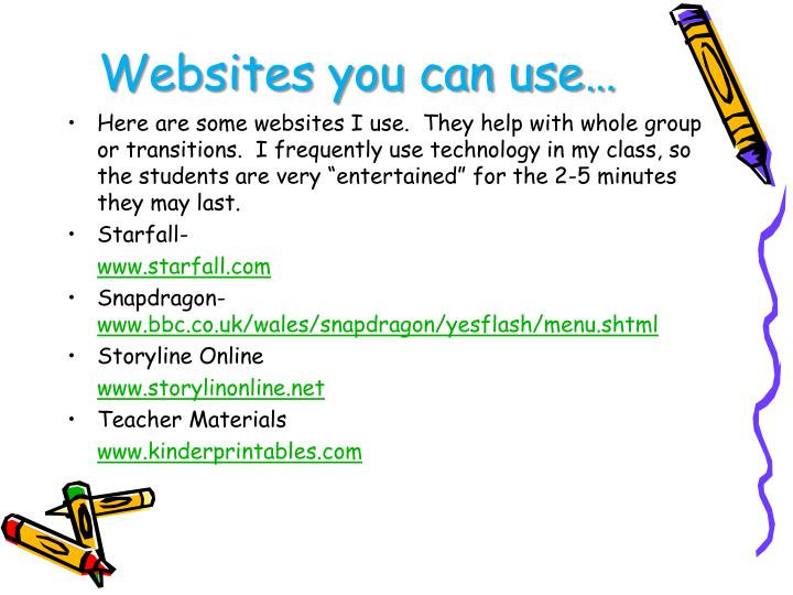 Websites you can use…