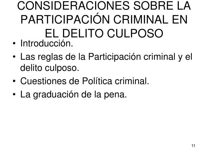 CONSIDERACIONES SOBRE LA PARTICIPACIÓN CRIMINAL EN EL DELITO CULPOSO