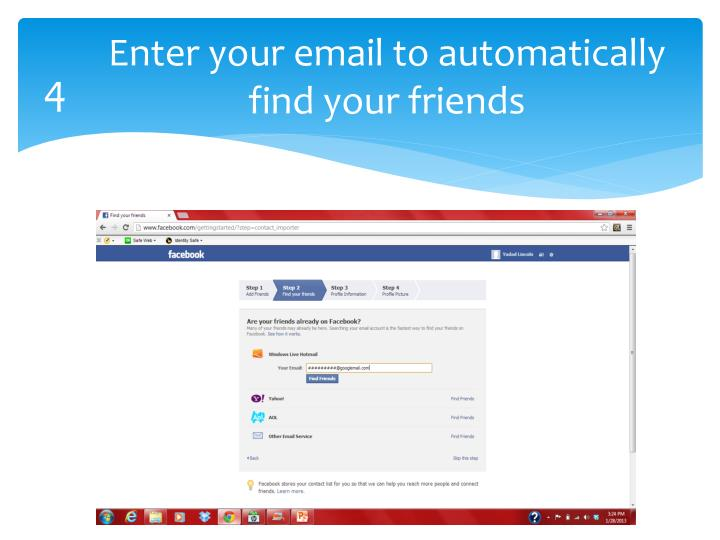 Enter your email to automatically find your friends