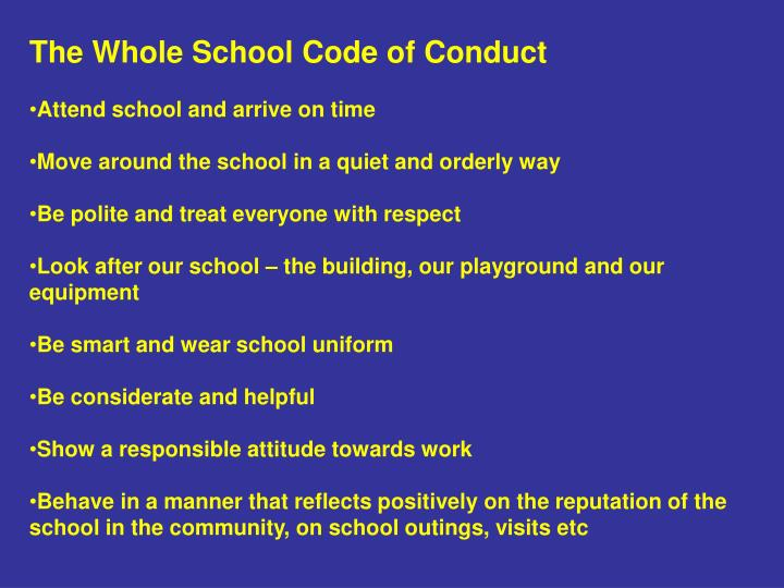 The Whole School Code of Conduct