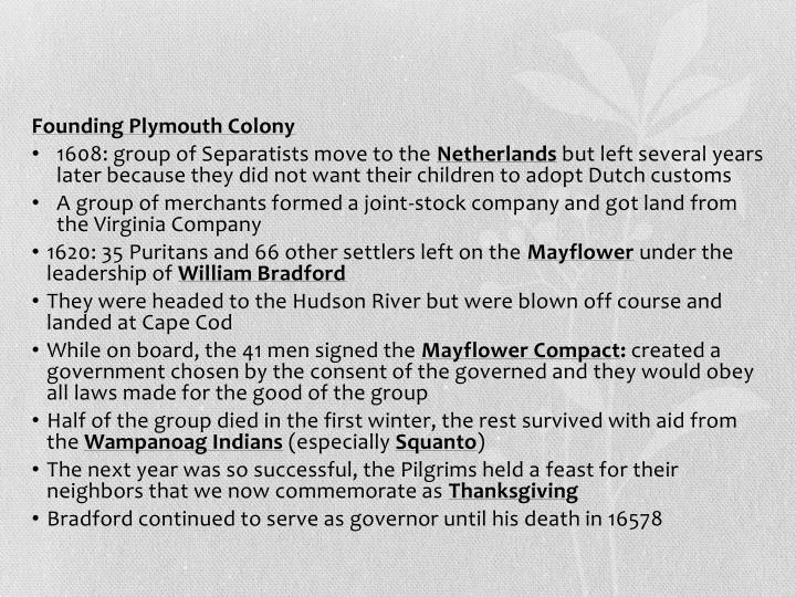 Founding Plymouth Colony