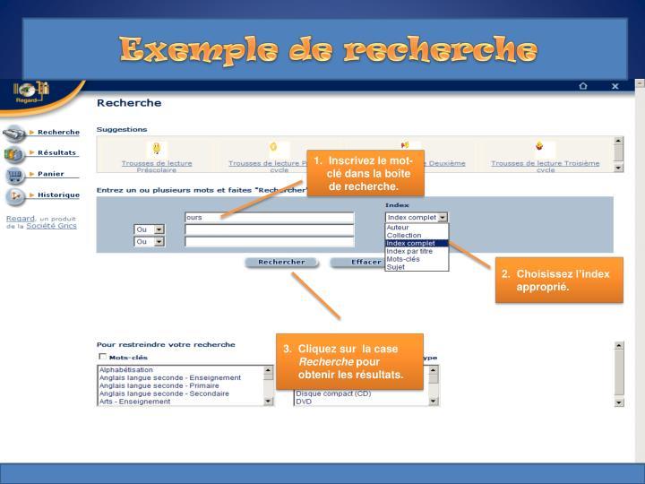 Exemple de recherche