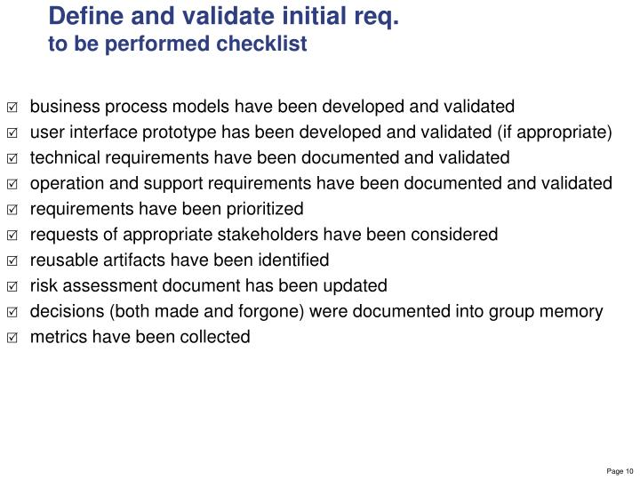 Define and validate initial req.