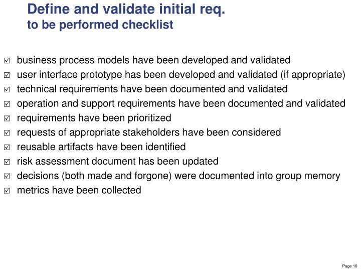 Define and validate initial req.