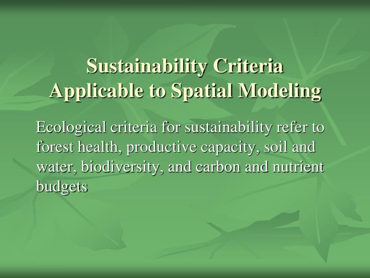 Sustainability Criteria