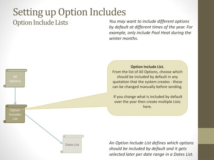 Setting up Option Includes