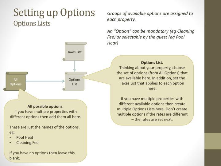 Setting up Options