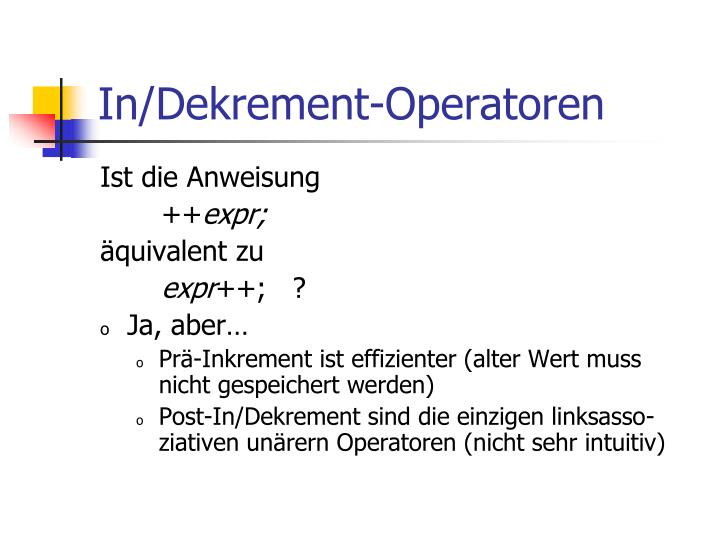 In/Dekrement-Operatoren