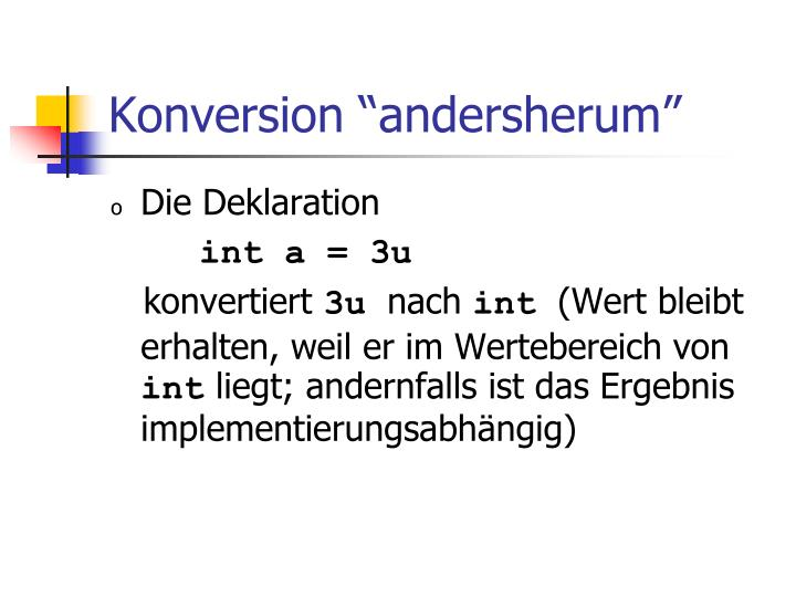 "Konversion ""andersherum"""