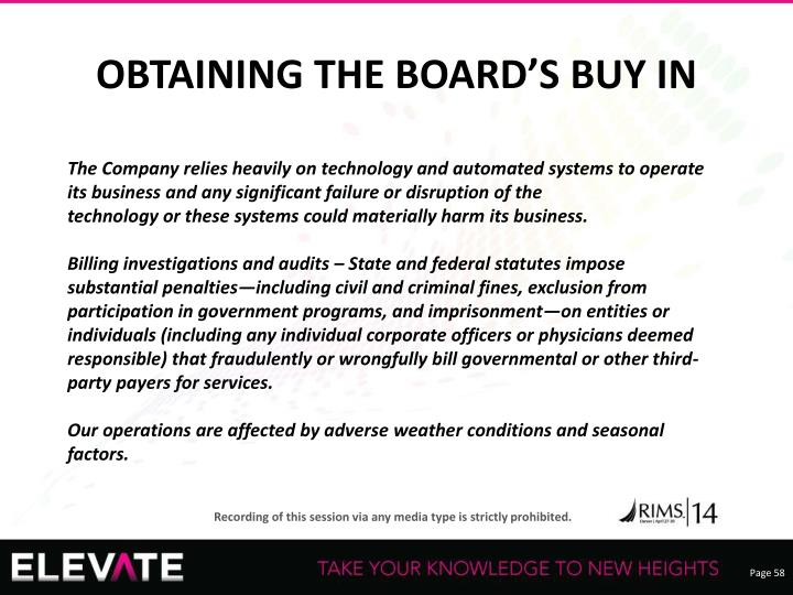 OBTAINING THE BOARD'S BUY IN