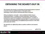 obtaining the board s buy in