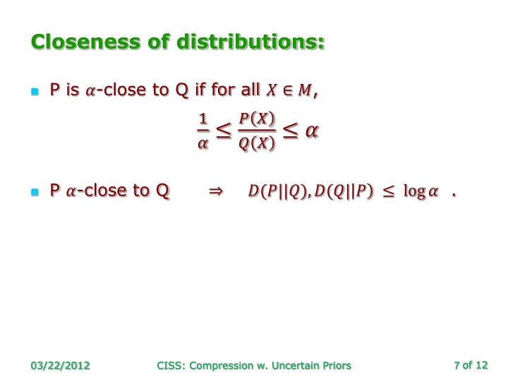 Closeness of distributions: