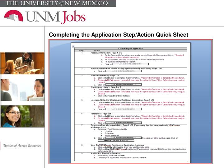 Completing the Application Step/Action Quick Sheet