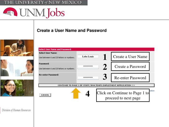 Create a User Name and Password