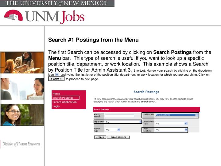 Search #1 Postings from the Menu