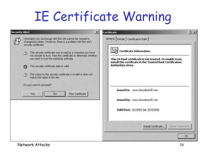 IE Certificate Warning